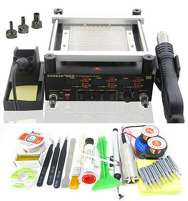 Digita Hot Air Heat Gun BGA Rework Solder Station+Electric Soldering iron + IR