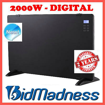 New Premium Glass 2000W Digital Electric Convection Panel Heater  Wall Mountable