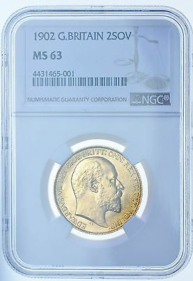 1902 Two Pounds £2, Slabbed Ngc Ms-63, British Gold Coin From Edward Vii