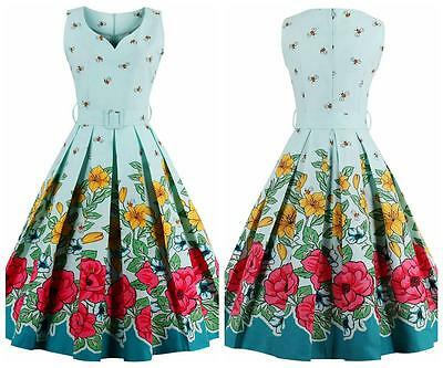 UK Women's Floral Bees Vintage 1950s Rockabilly Evening Party Swing Classy Dress