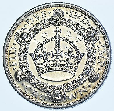 Scarce 1927 Proof Crown British Silver Coin From George V [Only 15030 Struck]