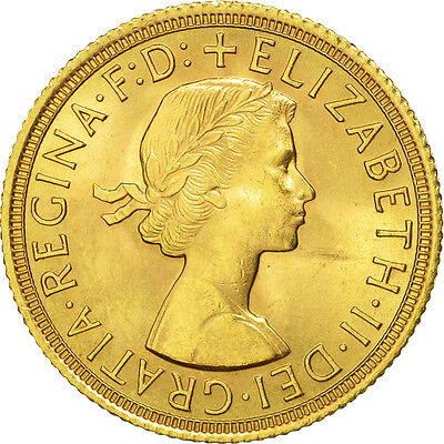 [#506358] Great Britain, Elizabeth II, Sovereign, 1958, MS(63), Gold, KM:908