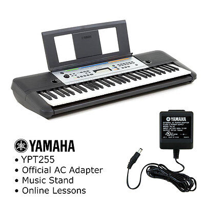 Yamaha YPT-255 61 Key Keyboard Pack with AC Adapter, Music Stand and Lessons