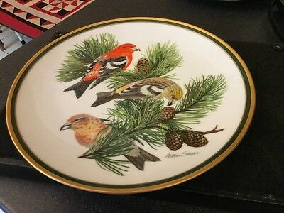 Franklin Mint Woodland Birds Of The World White Winged Crossbill Plate 1980