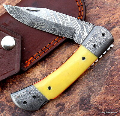 Damascus knife custom handmade -  Lock Back - folding knife  amaizing file work