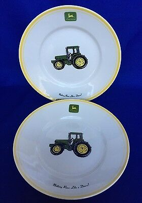 2 John Deere Tractor Plates Dish Salad Lunch Stoneware Licensed Product 9 IN