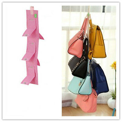 5Hooks Handbag Bag Purse Holder Shelf Hanger Rack Storage Organizer double side·