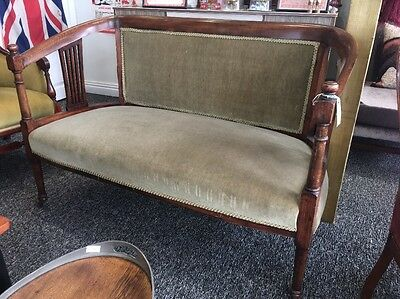 Gorgeous Edwardian Antique Two Seater Settee Sofa Chair Vintage On Casters