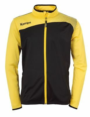 Kempa Kids Emotion Classic Sports Full Zip Jacket Tracksuit Top Black Yellow