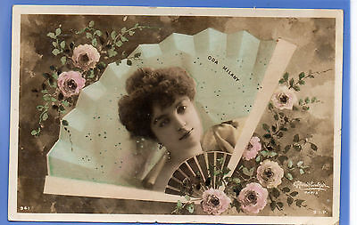 Old Vintage 1906 Rp Postcard Edwardian Actress Miss Oda Milany