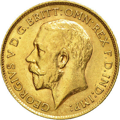 [#451647] Great Britain, George V, 1/2 Sovereign, 1913, AU(50-53), Gold, KM:819
