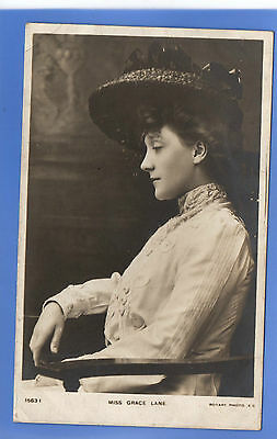 Old Vintage 1906 Rp Postcard Edwardian Actress Miss Grace Lane
