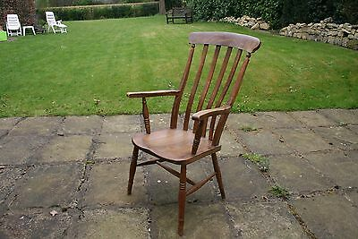Antique High Back Beech Elm Grandfather Slatback Chair