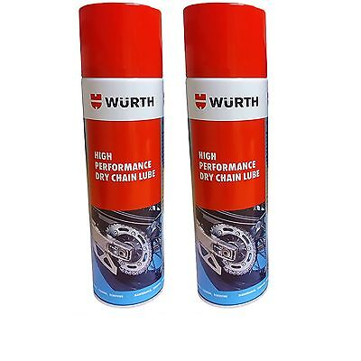 Wurth High Performance Dry Chain Lube Motorcycle Bike Spray 500 ML x 2