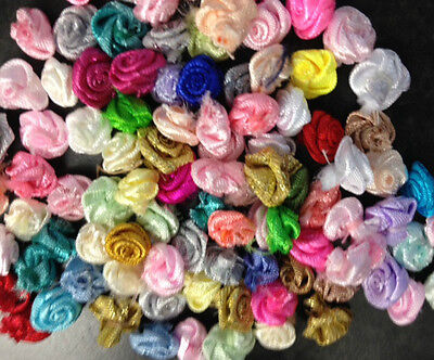 50 Miniature Fabric Rose Bud Flowers Card Making Sewing Craft Embellishments