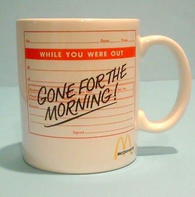 McDonalds Vintage Coffee Mug Cup Gone For The Morning Restaurant Rare