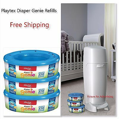 3 Playtex 270 Counts For Baby New Born Diaper Genie Refills Pails Keep Odor Germ