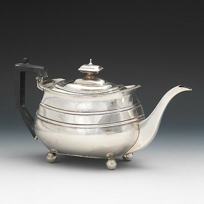 George III Sterling Silver Rectangular Tea Pot by Solomon Hougham London 1806