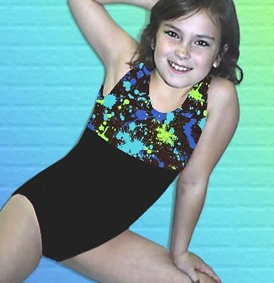 Gymnastics Leotard Girls sz CS Child 4 turquoise lime Paint Splatter NEW leo ca