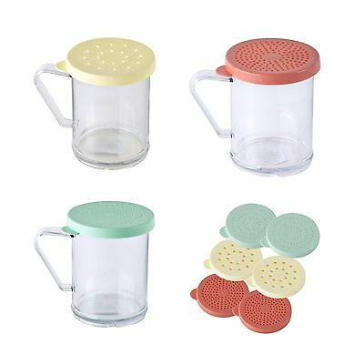 Tablecraft Clear Plastic Dredge Shaker with 3 Lid Options 10 oz - 3 PACK