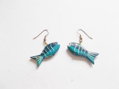 Vintage 1960's Blue Hand Painted Tropical Fish Pierced Earrings