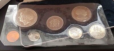 1973 Jamaica Proof Set of Coins with Case, COA 7 Coin Set 1.25 ASW