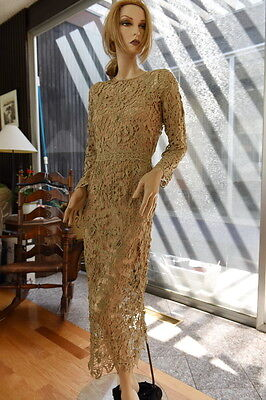 Lim's Gorgeous All Hand Made Crochet Midi Dress Taupe M (One Size)