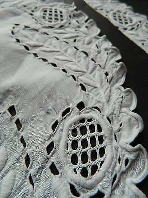 Antique Irish linen table runner with superb hand embroidery whitework