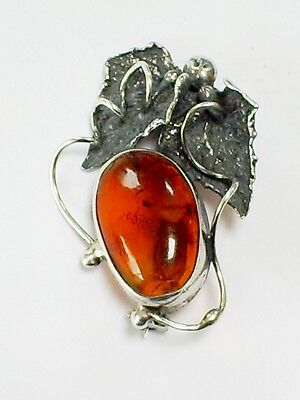 Vintage 925 Silver Art Nouveau Style Ivy Leaf & Baltic Amber Cabochon Brooch/pin