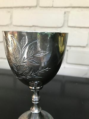 Estate Silverplate Antique Wine Water Goblet Chalice # 5