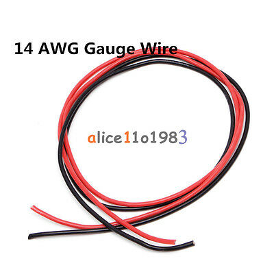 14 AWG Gauge Wire Flexible Silicone Stranded Copper Cables For RC Black Red 2M