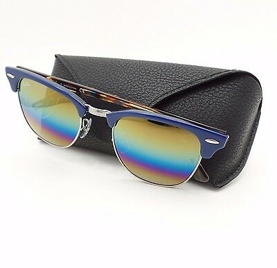 Ray Ban Clubmaster 3016 1223/C4 Blue Bronze Mineral Fade Mirror New  Authentic