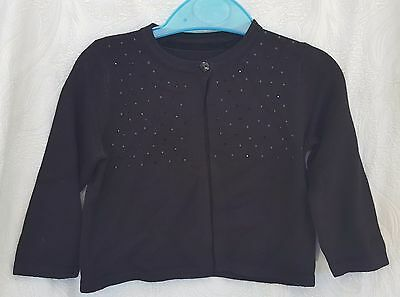 Baby Girl Toddler Black One Button Cardigan Jacket Age 6-9 Months (X793)
