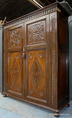 Stunning Carved Oak Arts & Crafts 2 Door Wardrobe With Key (30 Pictures)