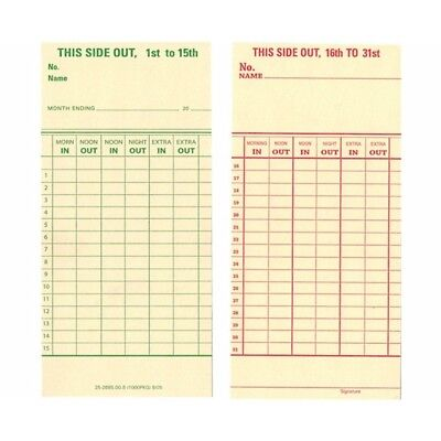1000 Count, Form 25-2685-00-8 Semi-Monthly Time Cards for Top-Loading Time Clock