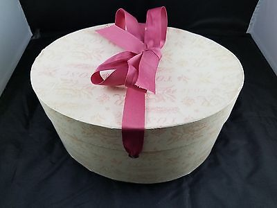 Beautiful Collectible Oval Rose Pattern Handmade Wallpaper Hat Box - Pink W/bow