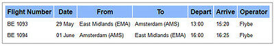 Flybe Flight Ticket East Midlands EMA to Amsterdam AMS 29 May - 1 June 2017 x2