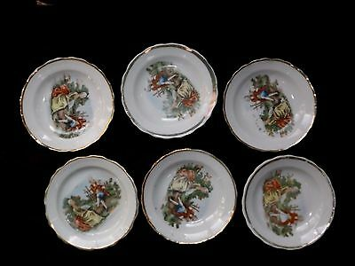Colonial Couple Butter Pats / Tea Bag Holder Set Of 6 Occupied Japan