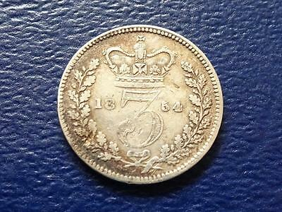 Queen Victoria Silver Threepence 1854 Good Filler Great Britain Uk