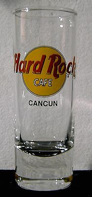 Hard Rock Cafe Tall Shot Glass Cancun Mexico black letters
