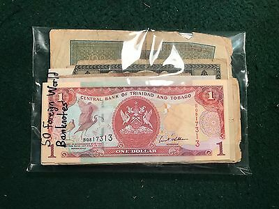 Pack of 50 Various Foreign World Currency Banknotes Various Countries Conditions
