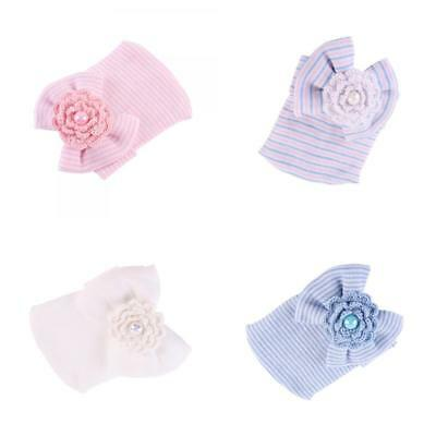Pack of 4 Newborn Baby Striped Bow Beanie Hat Soft Hospital Cap 0-6 Months
