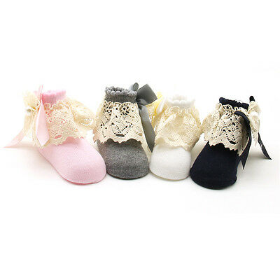 Newborn Toddler Infant Baby Girl Anti-slip Lace Cotton+fiber Socks Slipper Shoes
