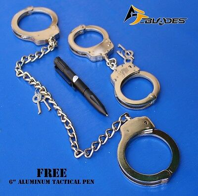 Combo Set Real Legcuffs & Handcuffs Double Lock Nickel Plated+ Free Tactical Pen