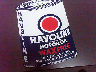 Havoline Can Gasoline Porcelain Advertising Sign