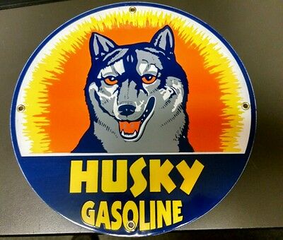 HUSKY Gasoline Gas / Oil Porcelain Advertising Sign...~12""