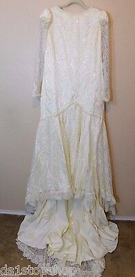 VTG 1990 Off White/Cream Lace Sequin Hand Made Wedding Dress + Vail | Sz 16 ?