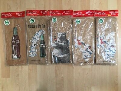 100 New Coca Cola Lunch Bags 5 Packages 20 Each Brown Paper !!!