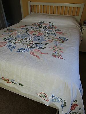 Vintage Hand Stitched Quilt, Cross Stitched Floral 81 x 92
