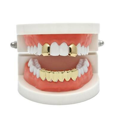 Hip Hop Custom Mouth Grillz Set 2pc Single Top & 6pc Bottom Play 4 Colors - LD